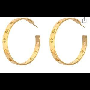 Tory Burch Pierced T Logo Hoop Earrings Gold NWT